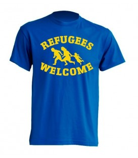 Camiseta Azul Refugees Welcome- FREELIFE