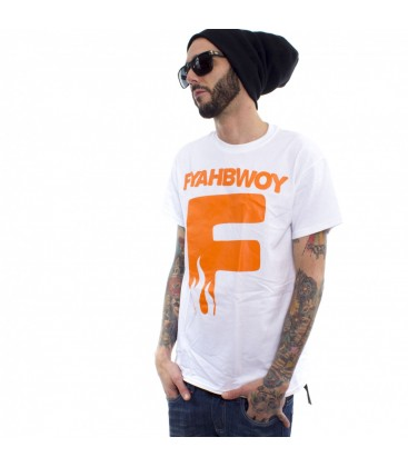 Camiseta Fyahbwoy White Orange - FYAHBWOY