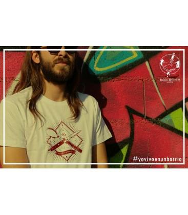 Camiseta Yo vivo en un barrio Blanco - BLOODBROTHERS