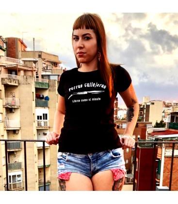 Camiseta Chica perras callejeras negro - PERROS CALLEJEROS